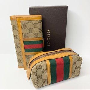Gucci Vintage Web Wallet + Cosmetic Case